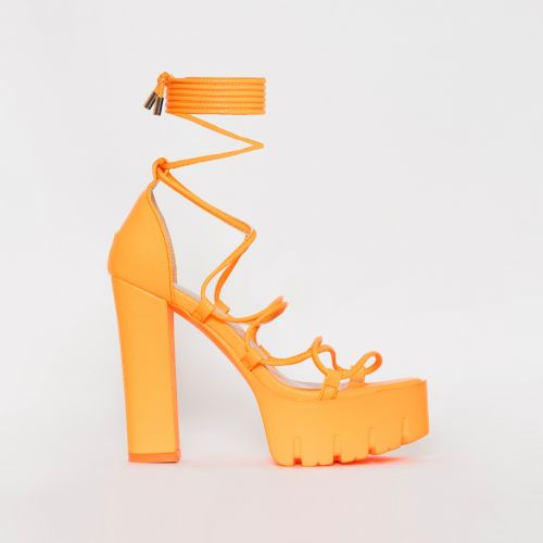 Juma Orange Snake Print Lace Up Chunky Heels