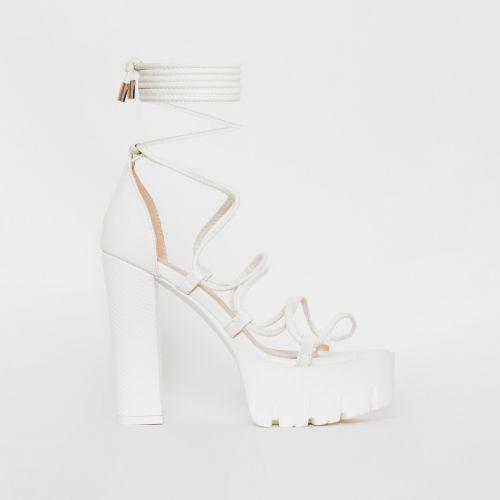 Juma White Snake Print Lace Up Chunky Heels