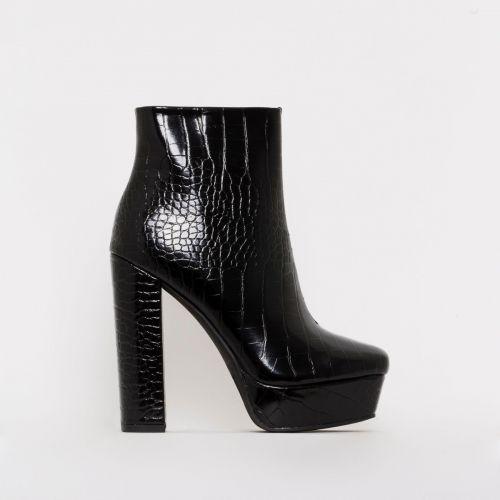 Taylor Black Croc Print Platform Ankle Boots