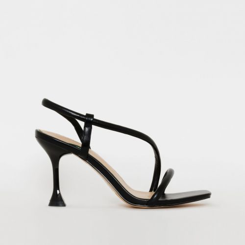 Katrissa Black Asymmetric Strappy Mid Flared Heels