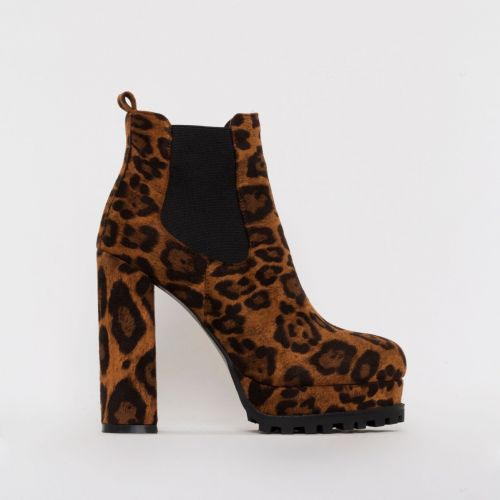 Aura Leopard Print Platform Ankle Boots