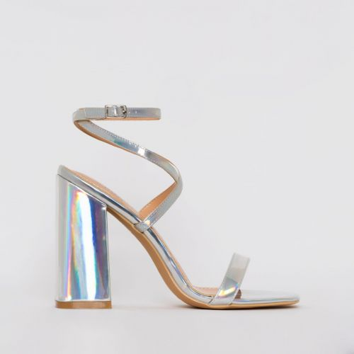 Blaise Silver Iridescent Strappy Block Heels