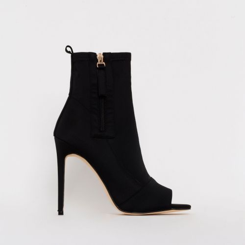 Avril Black Lycra Peep Toe Ankle Boots