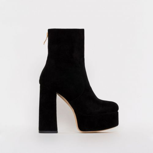 Lacey Black Suede Chunky Platform Ankle Boots