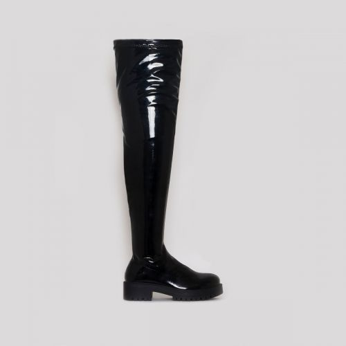 Tamia Black Patent Flat Over the Knee Boots