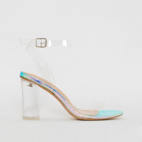 Kimana Rainbow Snake Print Clear Mid Block Heels