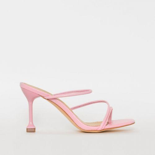 Jada Pink Snake Print Strappy Mid Heels