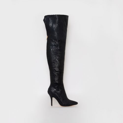 Karina Black Python Thigh High Boots