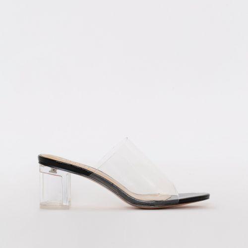 Chloe Black Patent Snake Print Clear Mid Block Heel Mules