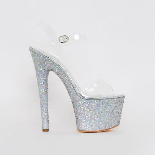Charis Clear Silver Glitter Platform Heels