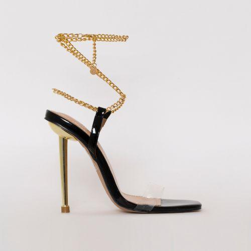 Amarissa Black Patent Clear Chain Heels