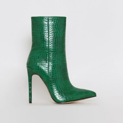 Melia Green Croc Print Stiletto Ankle Boots