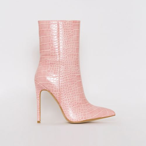 Melia Light Pink Croc Print Stiletto Ankle Boots