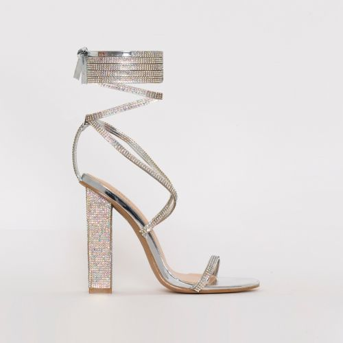Aisha Silver Mirror Lace Up Diamante Block Heels