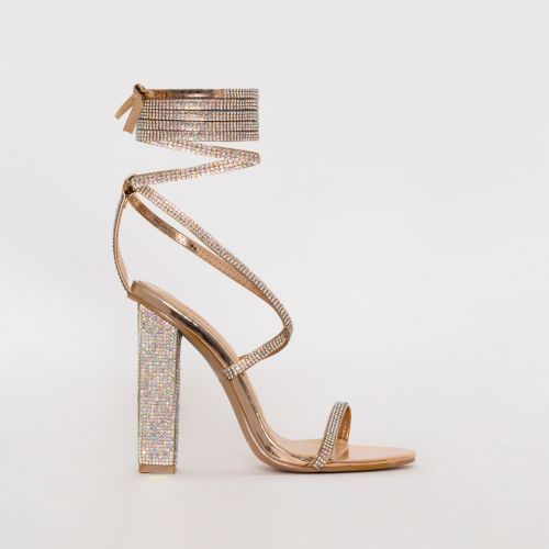 Aisha Rose Gold Mirror Lace Up Diamante Block Heels
