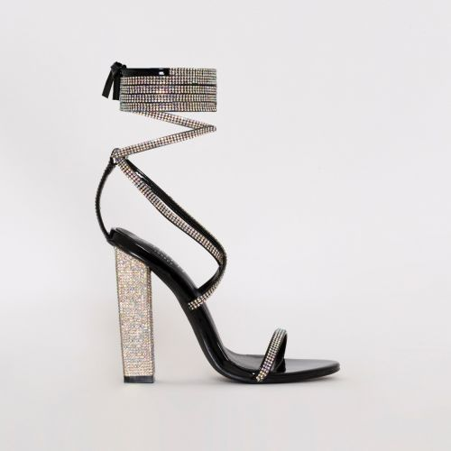 Aisha Black Patent Lace Up Diamante Block Heels