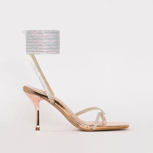 Darby Rose Gold Clear Lace Up Diamante Mid Heels