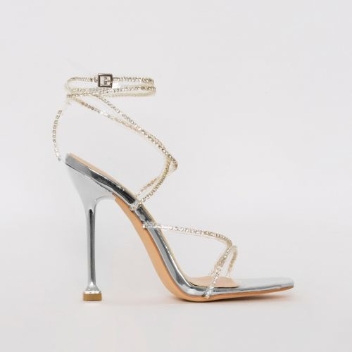 Chantel Silver Clear Diamante Strappy Heels