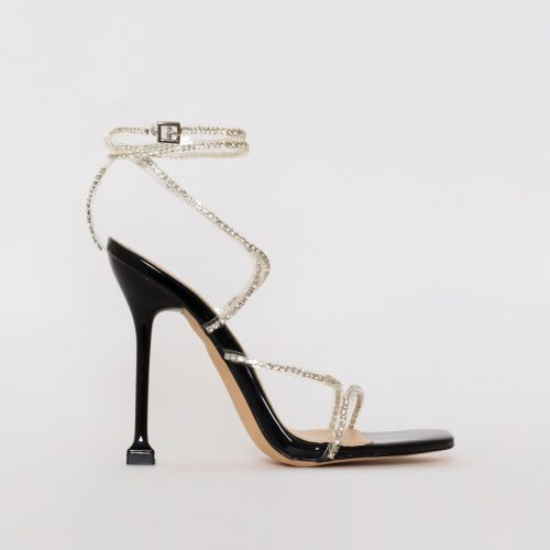 Chantel Black Patent Clear Diamante Strappy Heels