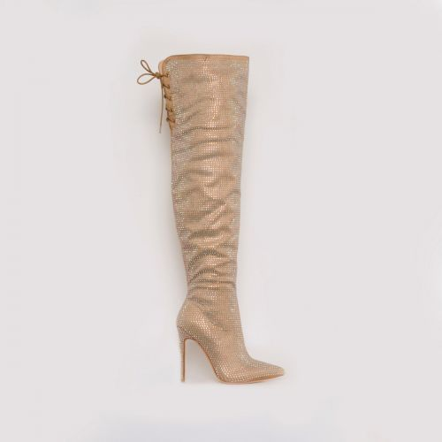 Vakili Nude Suede Diamonte Thigh High Stiletto Boots