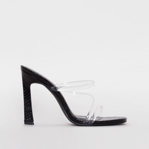 Truth Black Patent Croc Print Clear Mules