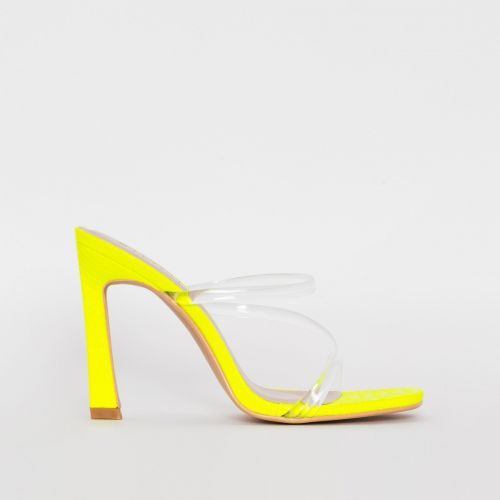 Truth Yellow Snake Print Clear Mules
