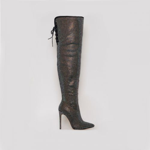 Vakili Black Suede Diamante Thigh High Stiletto Boots