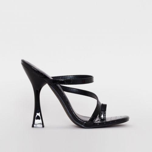 Rabia Black Patent Croc Strappy Mules