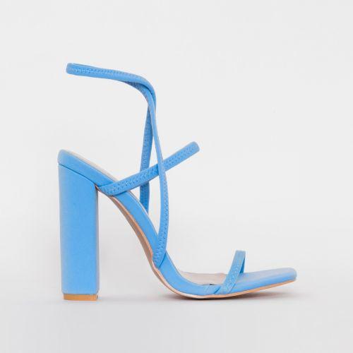Fearne Blue Lycra Strappy Block Heels