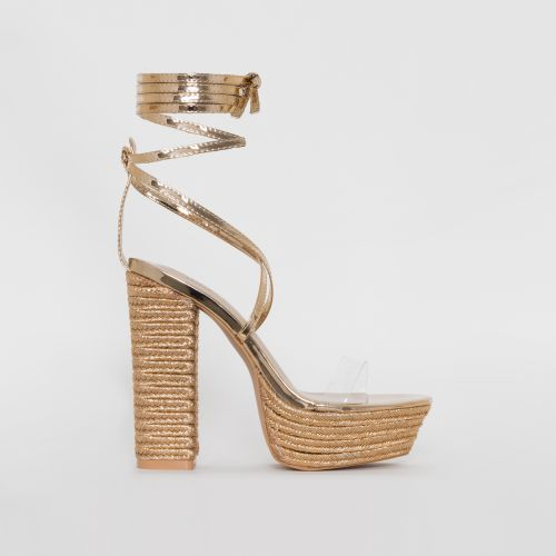 Akira Rose Gold Patent Lace Up Espadrille Platform Heels