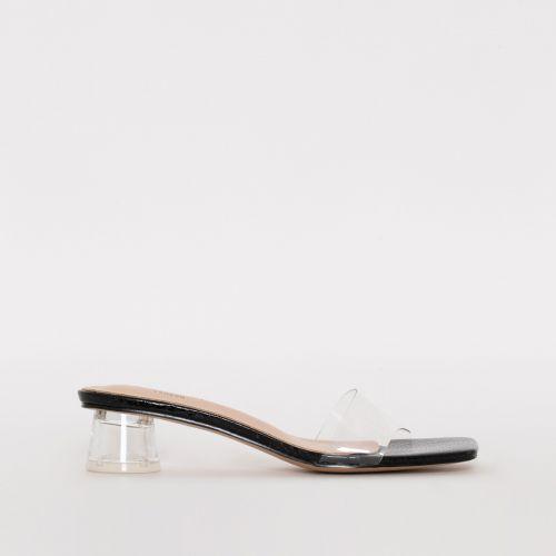 Arla Black Patent Snake Print Clear Mid Block Heel Mules