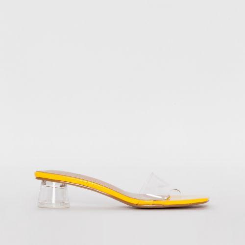 Arla Yellow Patent Mid Block Heel Mules