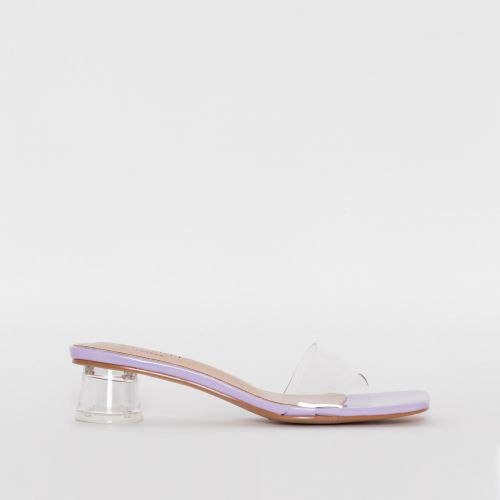 Arla Lilac Patent Clear Mid Block Heel Mules