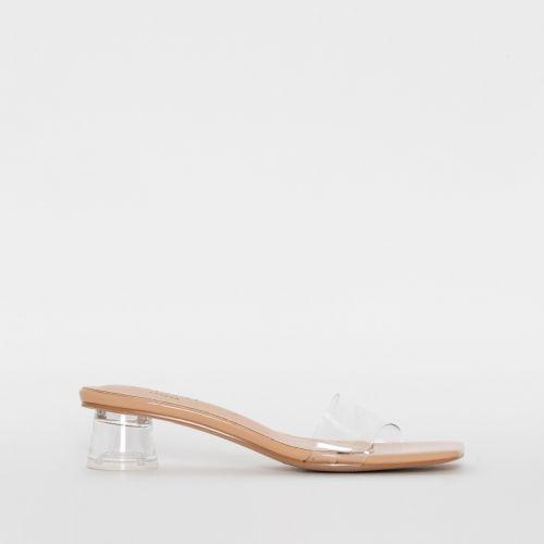 Arla Nude Patent Clear Block Heel Mules