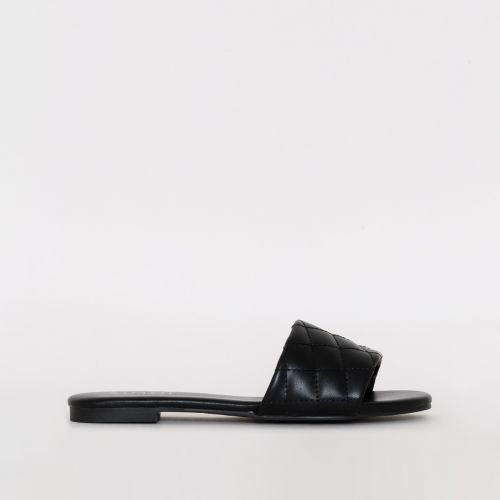 Aneka Black Quilted Flat Sliders