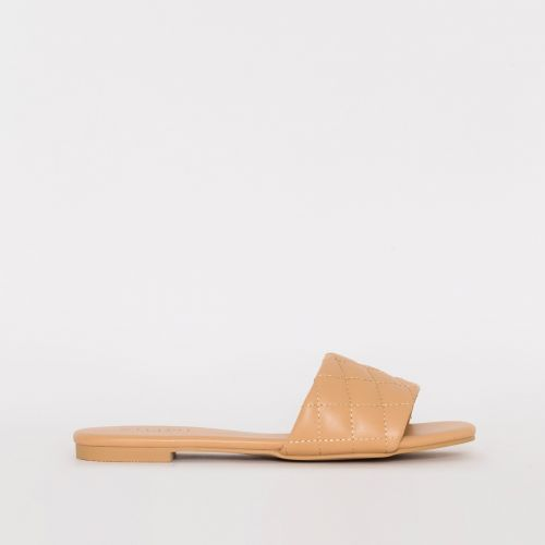 Aneka Nude Quilted Flat Sliders