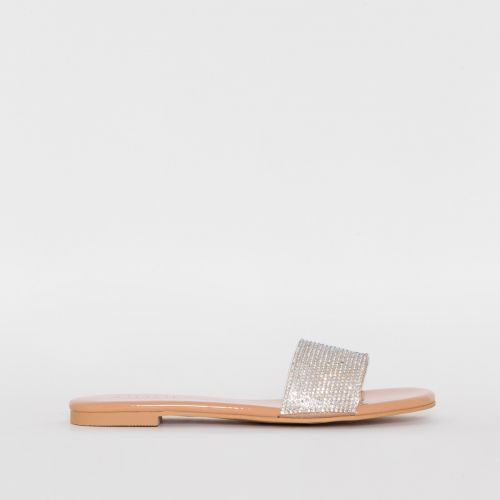 Carly Nude Patent Diamante Sliders