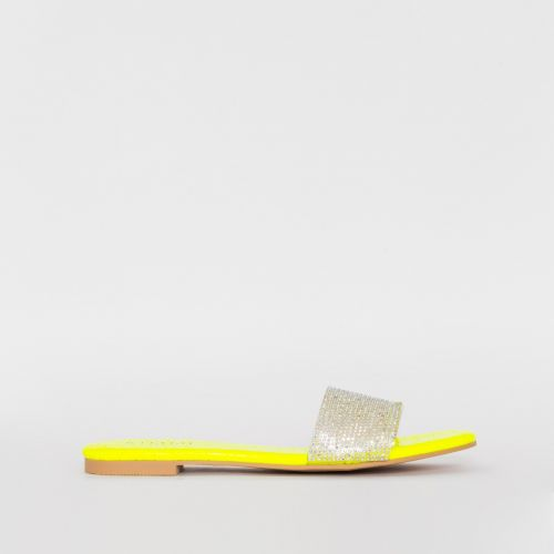 Carly Yellow Croc Print Diamante Sliders