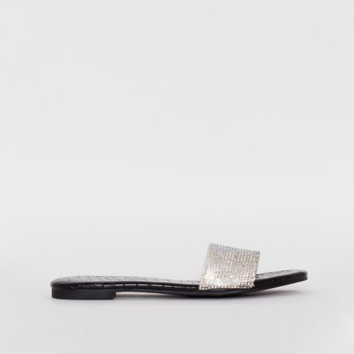Carly Black Croc Print Diamante Sliders