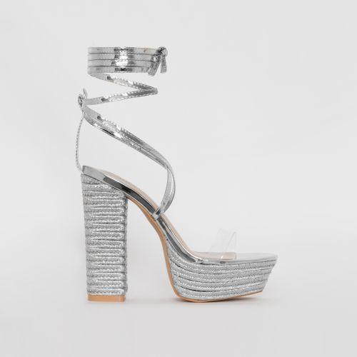 Akira Silver Patent Lace Up Espadrille Platform Heels