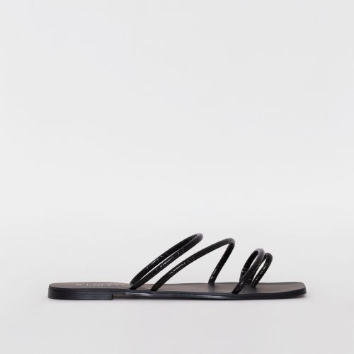 Eva Black Python Print Strappy Sandals