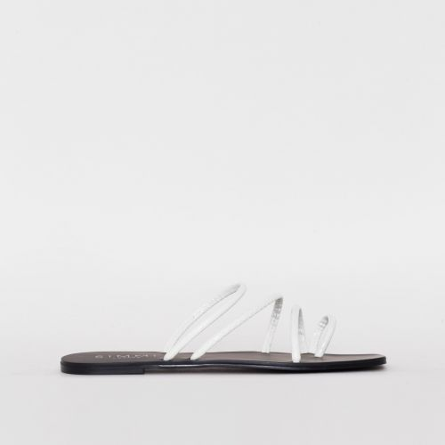 Eva White Croc Print Strappy Sandals