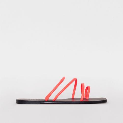 Eva Coral Croc Print Strappy Sandals