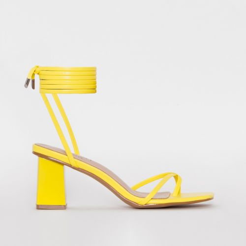 Hollie Yellow Lace Up Mid Block Heels
