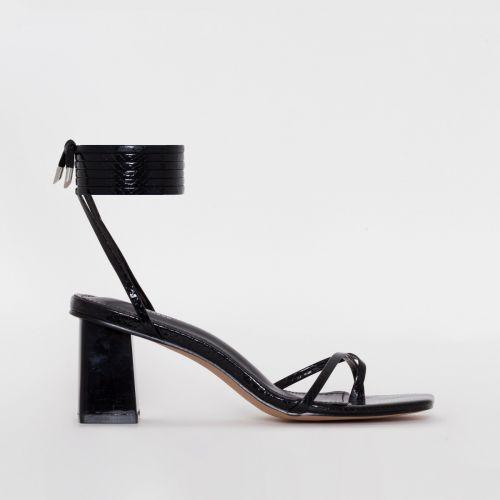 Hollie Black Snake Print Lace Up Block Heels