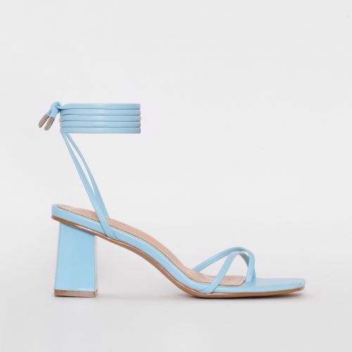 Hollie Blue Lace Up Mid Block Heels