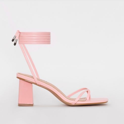 Hollie Pink Lace Up Mid Block Heels