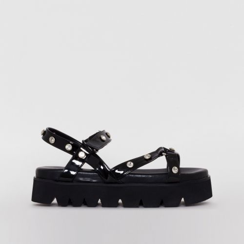 Shannon Black Gem Chunky Sandals