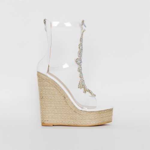 Donna White Clear Gem Espadrille Wedges