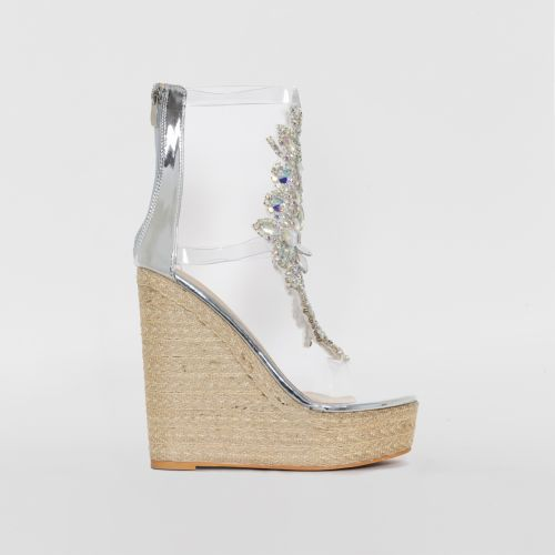 Donna Silver Clear Gem Espadrille Wedges